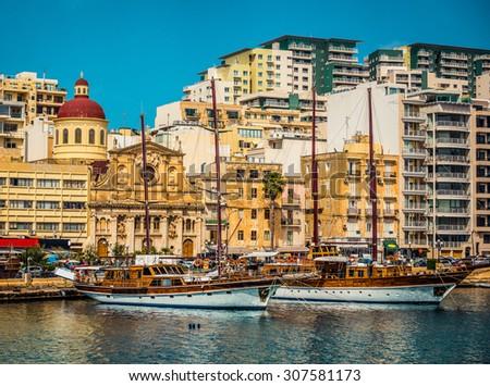 yachts on parking in Marsamxett Harbour near Valletta in Malta - stock photo