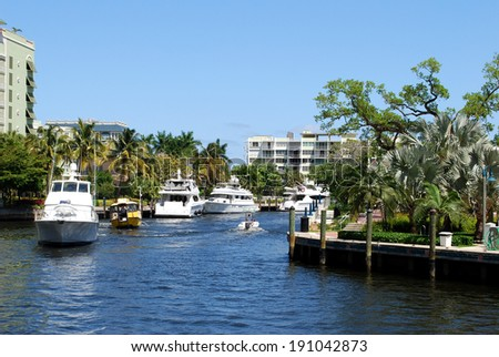 Yachts on the canal of Fort Lauderdale, Florida, USA / Boats on canal  - stock photo