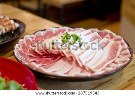 Yakiniku, sliced beef. - stock photo