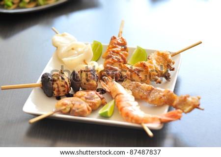 yakitori japan grill - stock photo