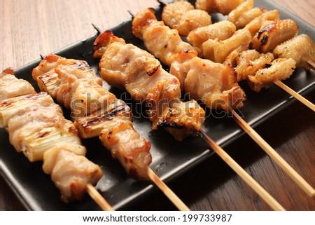 yakitori japanese grilled chiken - stock photo