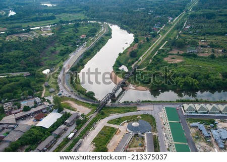 Yala, THAILAND - August 10, 2014. On helicopter photograph city Yala on August 10, 2014.Yala is the south of Thailand. - stock photo