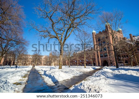 Yale university buildings in winter after snow storm Linus in New Haven, CT USA - stock photo