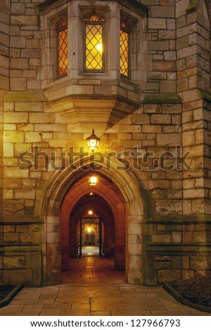 Yale University campus at evening New Haven Connecticut - stock photo