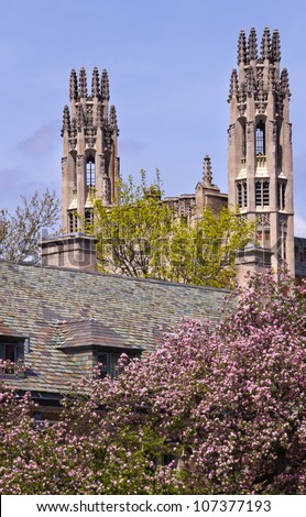 Yale University Sterling Law Building Ornate Victorian Towers New Haven Connecticut - stock photo