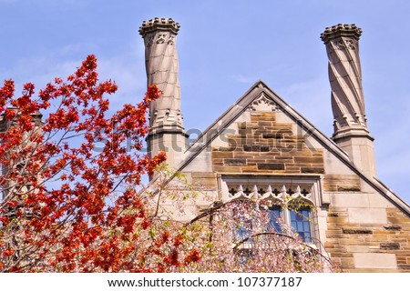 Yale University Sterling Law Building Ornate Victorian Towers Red Leaves New Haven Connecticut - stock photo
