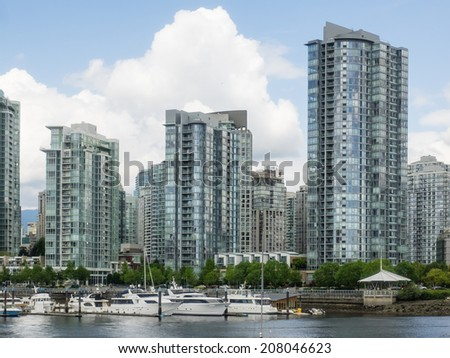 Yaletown is an area of Downtown Vancouver approximately bordered by False Creek, Robson, and Homer Streets. - stock photo