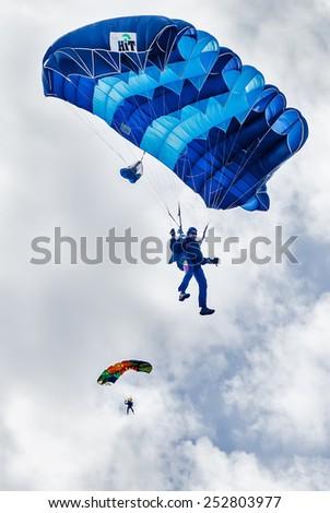 Yalutorovsk, Russia - May 24, 2008: Sport airdrome. Paratrooper men descend and trains in landing accuracy - stock photo