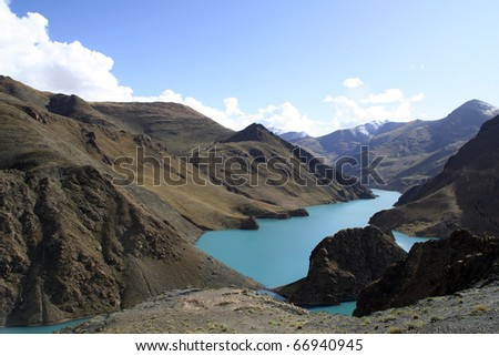 Yamdrok lake Tibet - stock photo