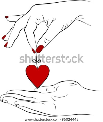yang woman hand giving a heart - stock photo
