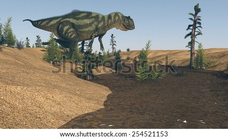 yangchuanosaurus near river on sand terrain - stock photo