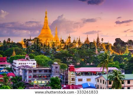 Yangon, Myanmar skyline at Shwedagon Pagoda. - stock photo
