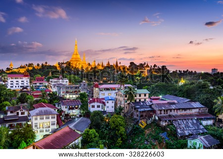 Yangon, Myanmar skyline with Shwedagon Pagoda. - stock photo