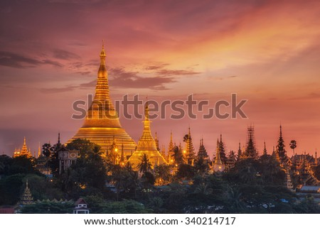 Yangon, Myanmar view of Shwedagon Pagoda at dusk - stock photo