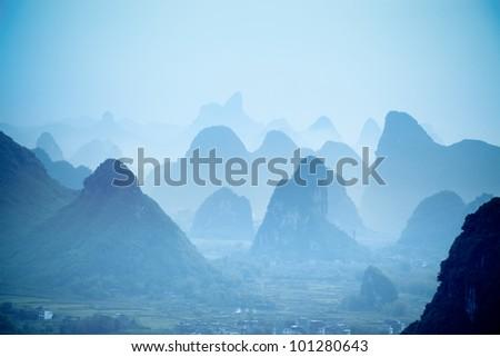 yangshuo hills in guilin,China - stock photo