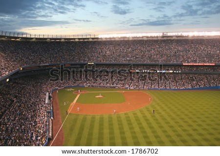 Yankee Stadium at twilight- wide angle view - stock photo