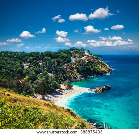 Yanui beach and Promthep cape in  Phuket, Thailand. - stock photo