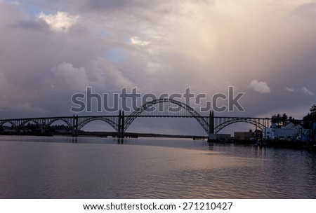 Yaquina bridge at sunset in Newport, Oregon. - stock photo