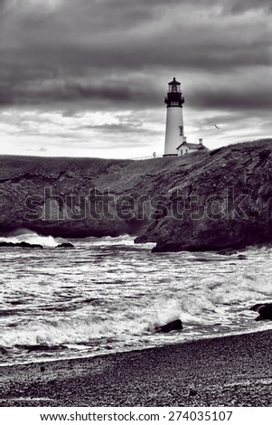 Yaquina lighthouse in B&W in Newport, Oregon. - stock photo