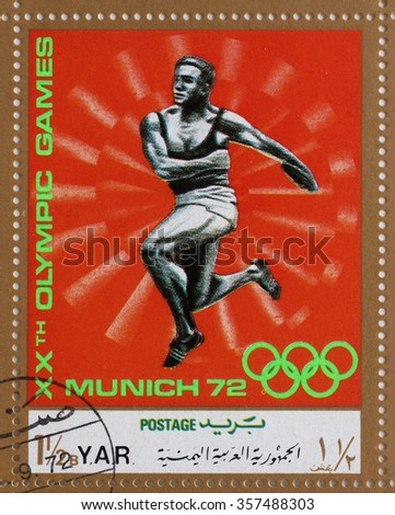 YAR - CIRCA 1972: A stamp printed in Yemen Arab Republic shows competition in the discus throw, Olympics in Munich, circa 1972 - stock photo
