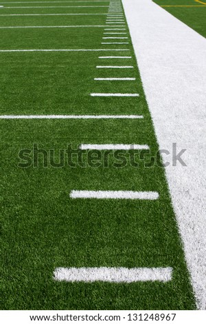 Yard Lines of a Football Field Vertical - stock photo