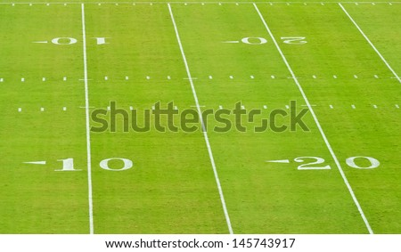 yard lines on a football field - stock photo