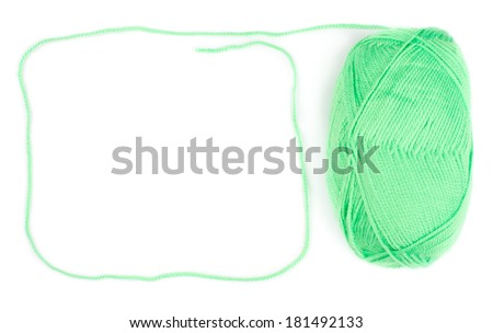 yarn skein of green color on white background - stock photo