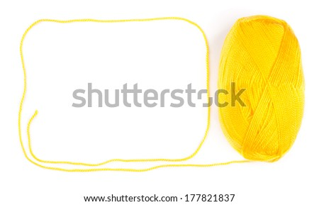 yarn skein of yellow color on white background - stock photo