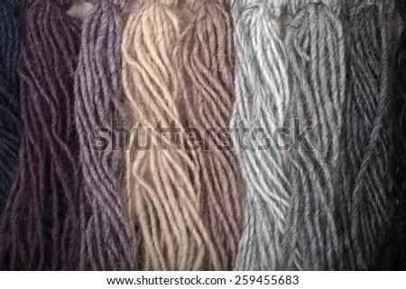 Yarn thread samples color card - stock photo