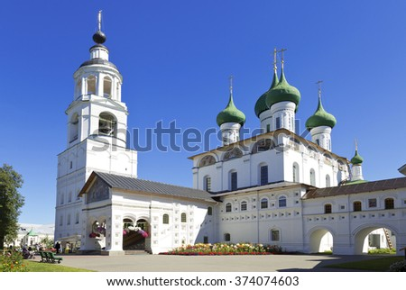YAROSLAVL, RUSSIA - JULY 19,2014: Cathedral of the Entry of the Theotokos into the Temple of Jerusalem in Tolga Monastery, Yaroslavl, Russia - stock photo