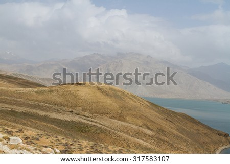 Yashilkul lake in Pamir mountains, Tajikistan, Central Asia - stock photo
