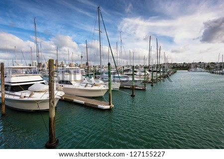 yatch lot dock in caribbean sea - stock photo