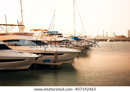 yatch park at pier,asian sea - stock photo