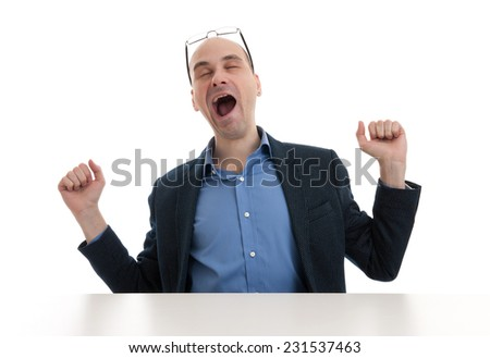 yawning business man isolated on a white background - stock photo