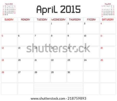 Year 2015 April Planner - A monthly planner calendar for April 2015 on white. A square pixel style is used. Vector version also in portfolio. - stock photo