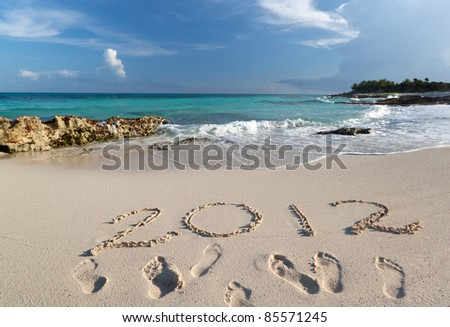 Year 2012 at Caribbean Sea in Mexico - stock photo