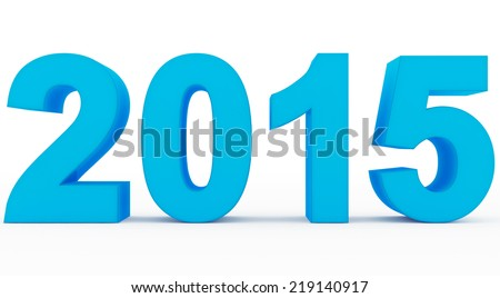 year 2015 blue - stock photo