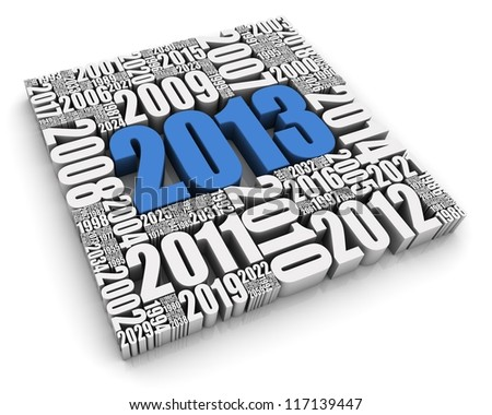 Year 2013 blue 3D text surrounded by other dates. Part of a series. - stock photo