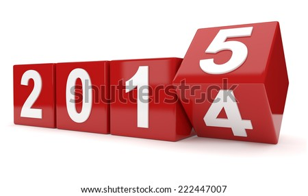 year 2014 changes to 2015 - stock photo