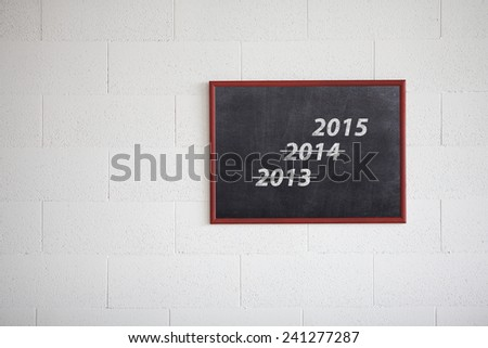 Year 2013, 2014 crossed and new years 2015 on chalkboard. for the concept of countdown to New Year 2015. - stock photo