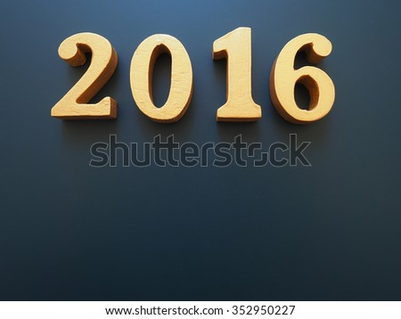 Year 2016, gold wood of 2016 number on black background, Happy new year 2016, Happy New Year Background for new year festive, greeting card - stock photo