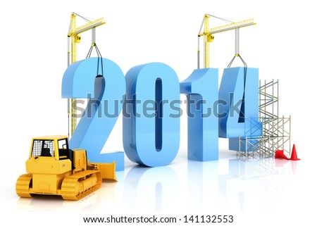 Year 2014 growth, building, improvement in business or in general concept in the year 2014, on a white background . - stock photo