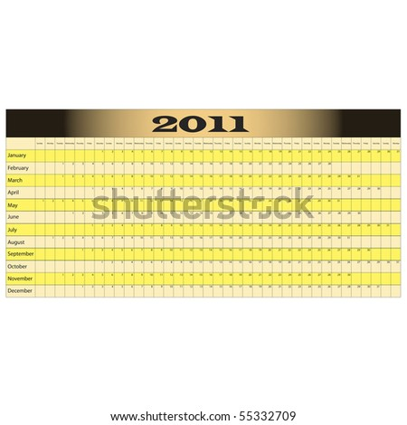 Year Long Calendar for 2011 with space for notes - stock photo