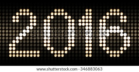 year 2016 numbers in led lights, each photographed with different exposure, isolated and placed on a grid with the background fading into absolute black - stock photo