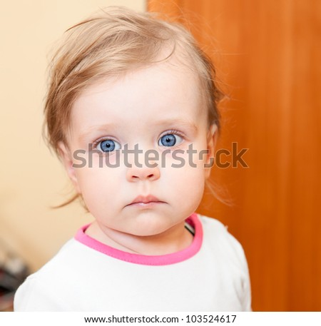 Year-old little Caucasian child closeup portrait - stock photo