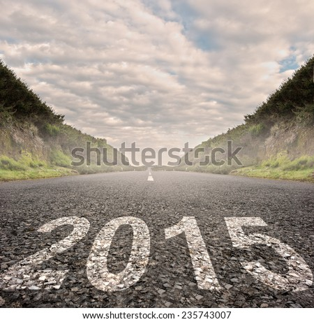 year 2015 painted on asphalt road - stock photo