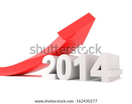 year 2014 - red arrow growth - stock photo