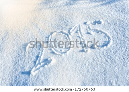 Year 2015 written in Snow - stock photo