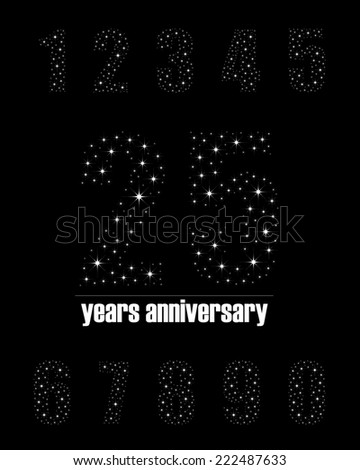 Years anniversary collection in bright stars number design - complete number set - stock photo
