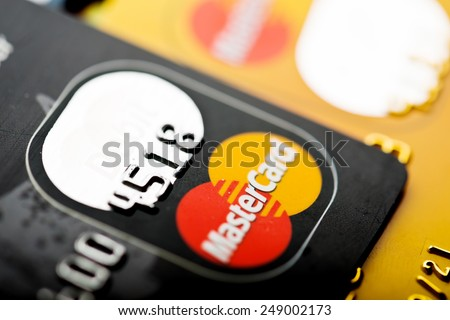 YEKATAERINBURG, RUSSIA - JAN 07, 2015: Pile of MasterCard credit cards. Mastercard one of the two biggest credit card companies in the world.  - stock photo